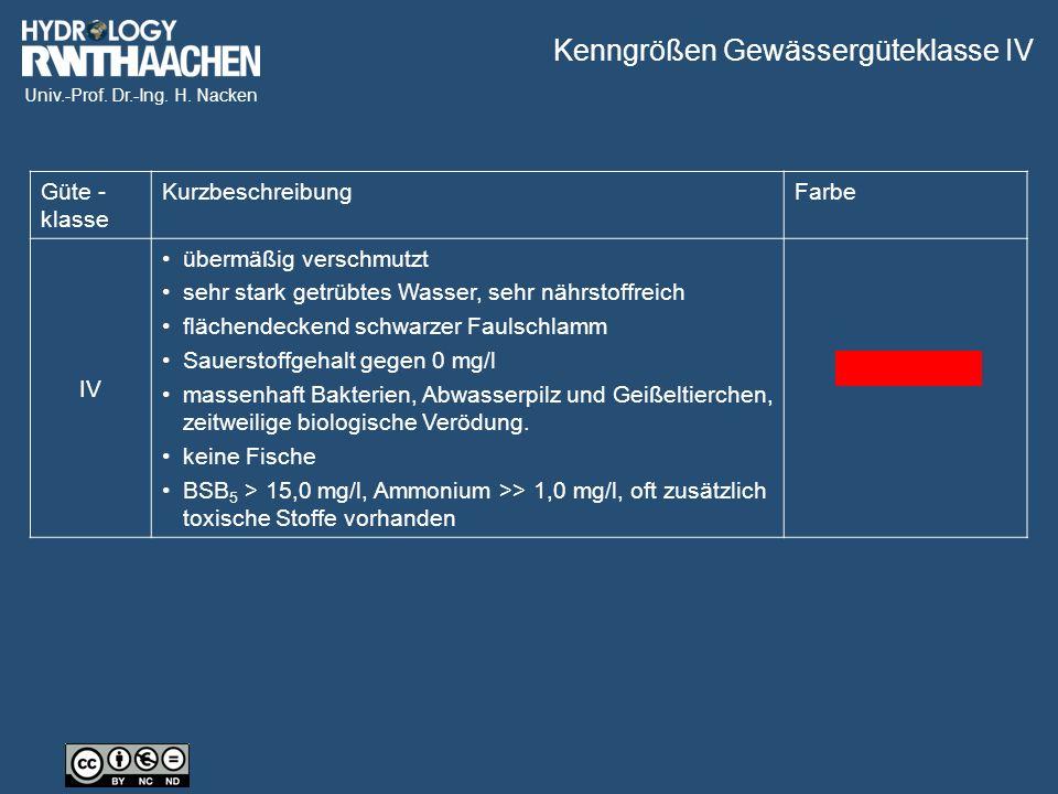 Univ.-Prof. Dr.-Ing. H. Nacken Kenngrößen Gewässergüteklasse IV Güte - klasse KurzbeschreibungFarbe IV übermäßig verschmutzt sehr stark getrübtes Wass