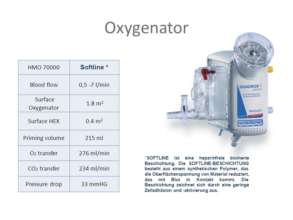 Oxygenator HMO 70000 Softline * Blood flow0,5 -7 l/min Surface Oxygenator 1.8 m 2 Surface HEX0.4 m 2 Priming volume215 ml O 2 transfer276 ml/min CO 2