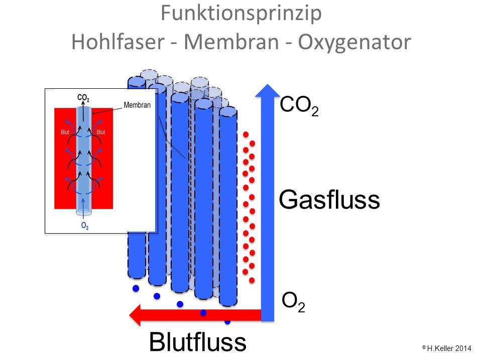 Blutfluss Gasfluss CO 2 O2O2 © H.Keller 2014 Funktionsprinzip Hohlfaser - Membran - Oxygenator