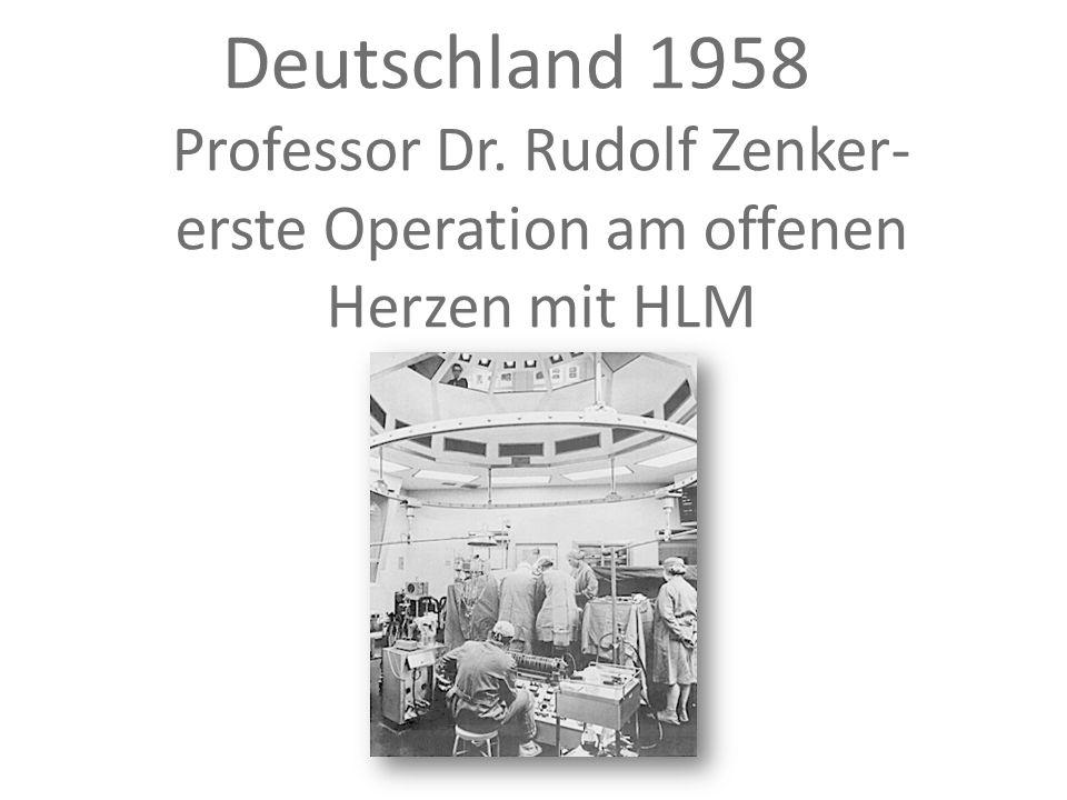 Deutschland 1958 Professor Dr. Rudolf Zenker- erste Operation am offenen Herzen mit HLM in Marburg