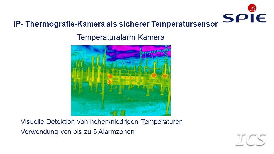 IP- Thermografie-Kamera als sicherer Temperatursensor Temperaturalarm-Kamera Visuelle Detektion von hohen/niedrigen Temperaturen Verwendung von bis zu 6 Alarmzonen