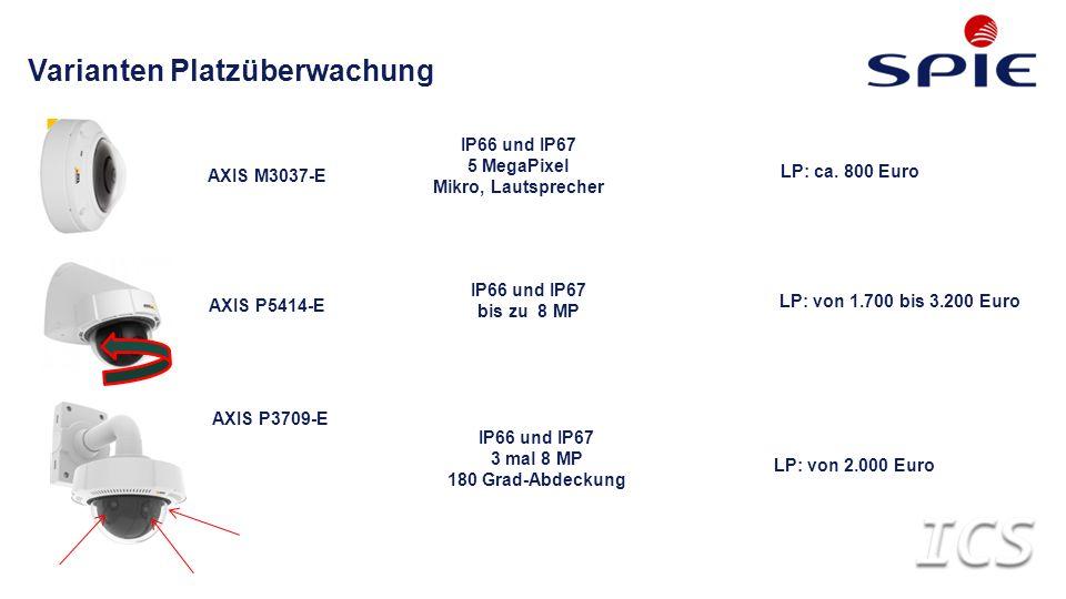 Varianten Platzüberwachung AXIS M3037-E IP66 und IP67 bis zu 8 MP IP66 und IP67 5 MegaPixel Mikro, Lautsprecher IP66 und IP67 3 mal 8 MP 180 Grad-Abdeckung AXIS P5414-E AXIS P3709-E LP: ca.