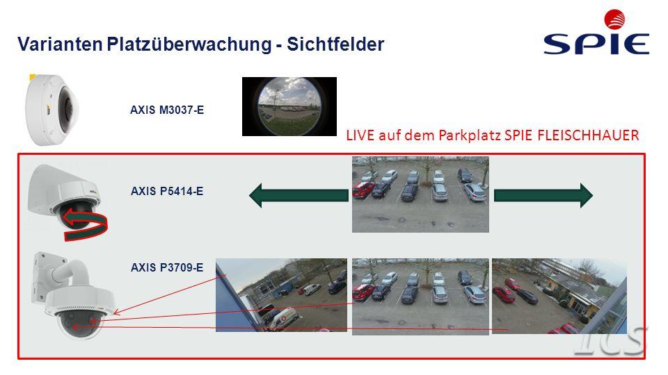 Varianten Platzüberwachung - Sichtfelder AXIS M3037-E AXIS P5414-E AXIS P3709-E LIVE auf dem Parkplatz SPIE FLEISCHHAUER