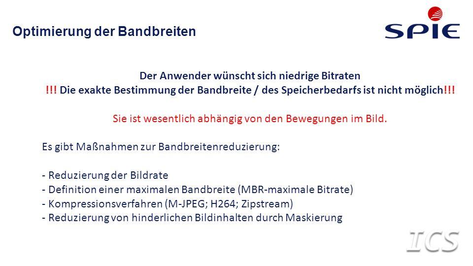 Optimierung der Bandbreiten Der Anwender wünscht sich niedrige Bitraten !!.