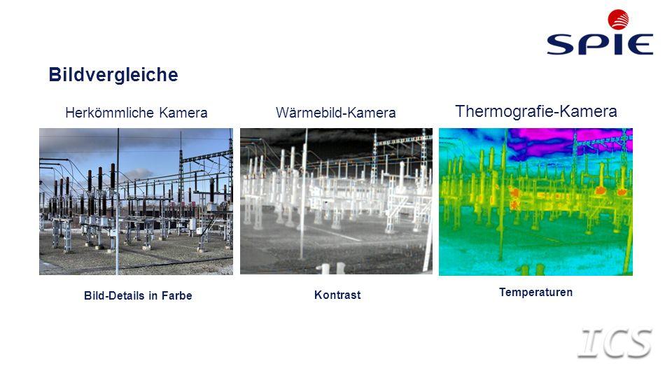Bild-Details in Farbe Bildvergleiche Herkömmliche KameraWärmebild-Kamera Thermografie-Kamera Kontrast Temperaturen