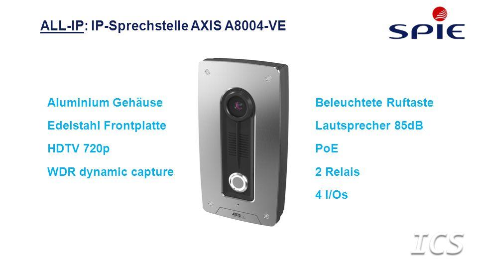 ALL-IP: IP-Sprechstelle AXIS A8004-VE Aluminium Gehäuse Edelstahl Frontplatte HDTV 720p WDR dynamic capture Beleuchtete Ruftaste Lautsprecher 85dB PoE 2 Relais 4 I/Os