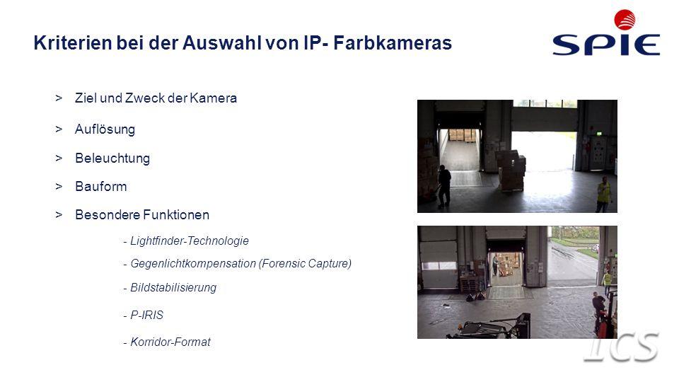 Kriterien bei der Auswahl von IP- Farbkameras >Ziel und Zweck der Kamera >Auflösung >Beleuchtung >Bauform >Besondere Funktionen - Lightfinder-Technologie - Gegenlichtkompensation (Forensic Capture) - Bildstabilisierung - P-IRIS - Korridor-Format