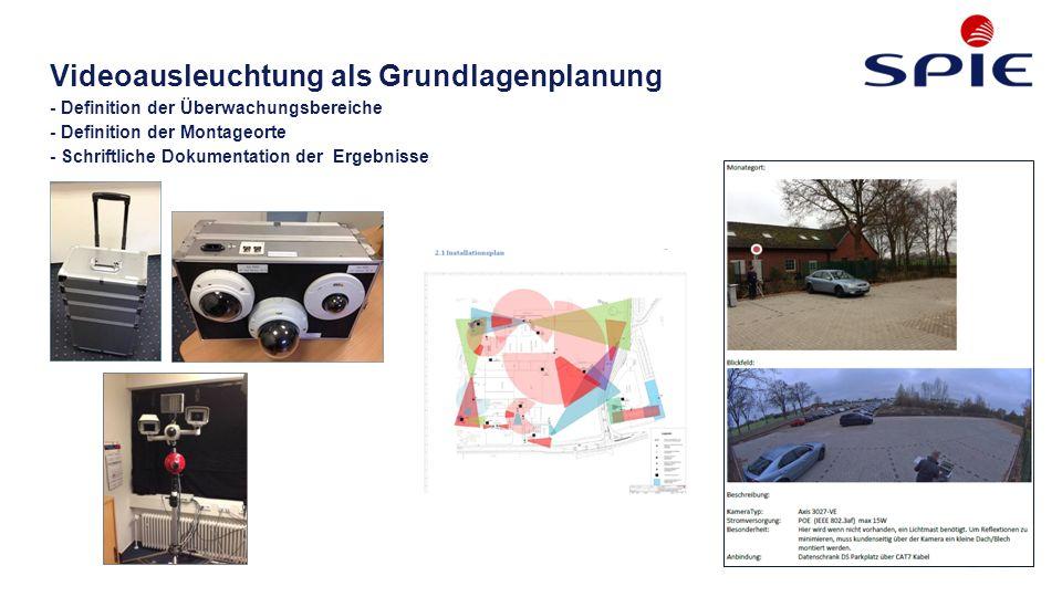 Videoausleuchtung als Grundlagenplanung - Definition der Überwachungsbereiche - Definition der Montageorte - Schriftliche Dokumentation der Ergebnisse