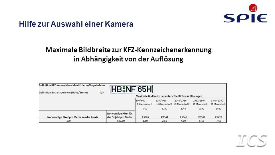 Maximale Bildbreite zur KFZ-Kennzeichenerkennung in Abhängigkeit von der Auflösung Hilfe zur Auswahl einer Kamera