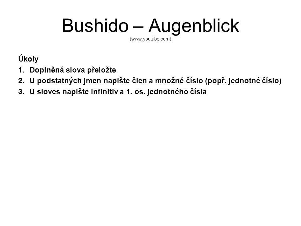 Bushido – Augenblick (www.youtube.com) Úkoly 1.Doplněná slova přeložte 2.U podstatných jmen napište člen a množné číslo (popř.