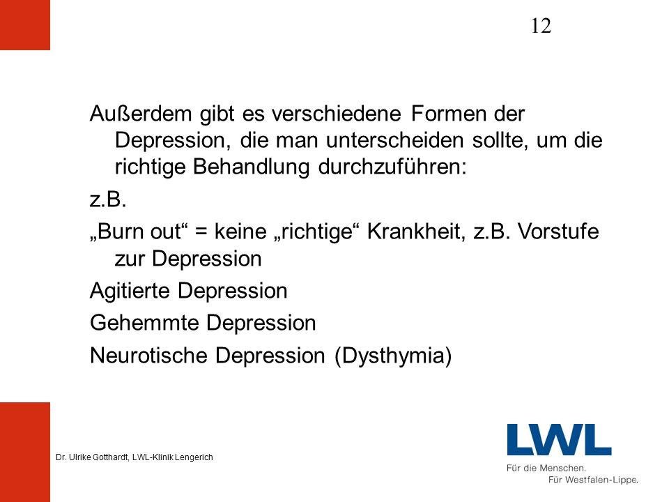 Dr. Ulrike Gotthardt, LWL-Klinik Lengerich 12 Außerdem gibt es verschiedene Formen der Depression, die man unterscheiden sollte, um die richtige Behan