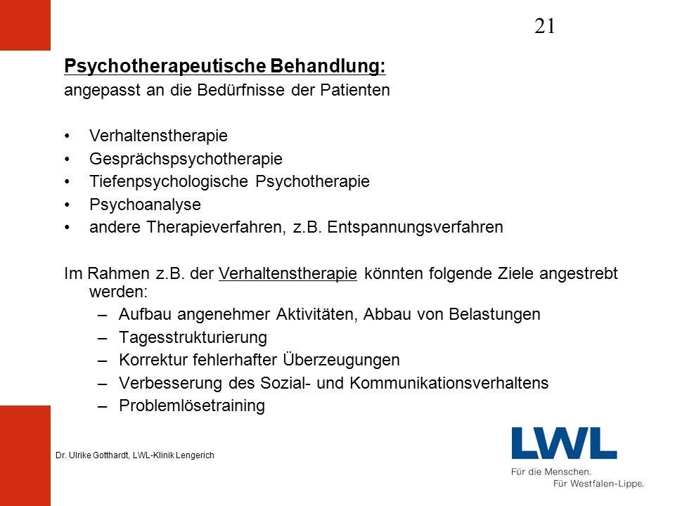 Dr. Ulrike Gotthardt, LWL-Klinik Lengerich 21 Psychotherapeutische Behandlung: angepasst an die Bedürfnisse der Patienten Verhaltenstherapie Gesprächs