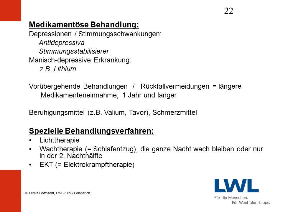 Dr. Ulrike Gotthardt, LWL-Klinik Lengerich 22 Medikamentöse Behandlung: Depressionen / Stimmungsschwankungen: Antidepressiva Stimmungsstabilisierer Ma