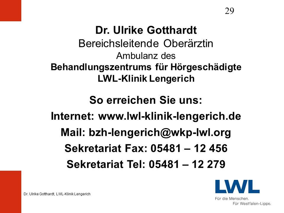 Dr. Ulrike Gotthardt, LWL-Klinik Lengerich 29 Dr.