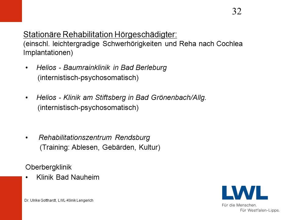 Dr. Ulrike Gotthardt, LWL-Klinik Lengerich 32 Stationäre Rehabilitation Hörgeschädigter: (einschl.