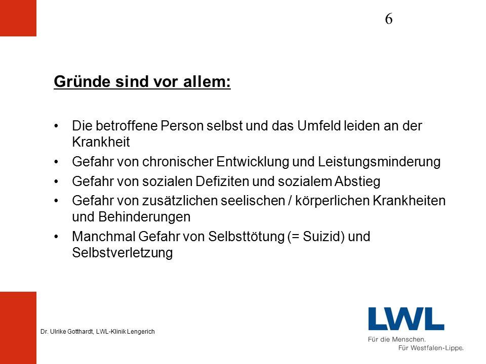 Dr. Ulrike Gotthardt, LWL-Klinik Lengerich 6 Gründe sind vor allem: Die betroffene Person selbst und das Umfeld leiden an der Krankheit Gefahr von chr