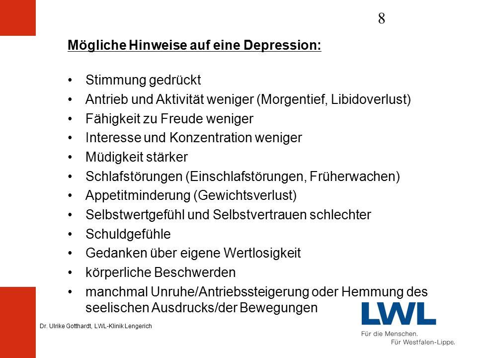 Dr. Ulrike Gotthardt, LWL-Klinik Lengerich 8 Mögliche Hinweise auf eine Depression: Stimmung gedrückt Antrieb und Aktivität weniger (Morgentief, Libid