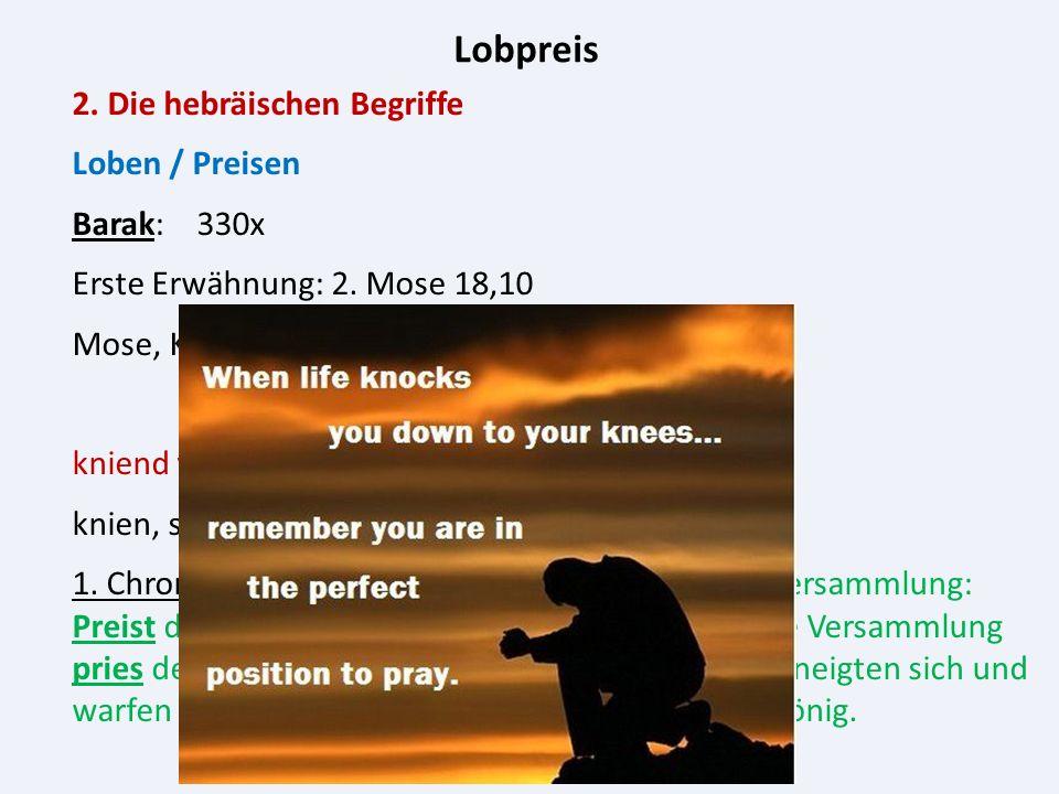 Lobpreis 2. Die hebräischen Begriffe Loben / Preisen Barak: 330x Erste Erwähnung: 2.