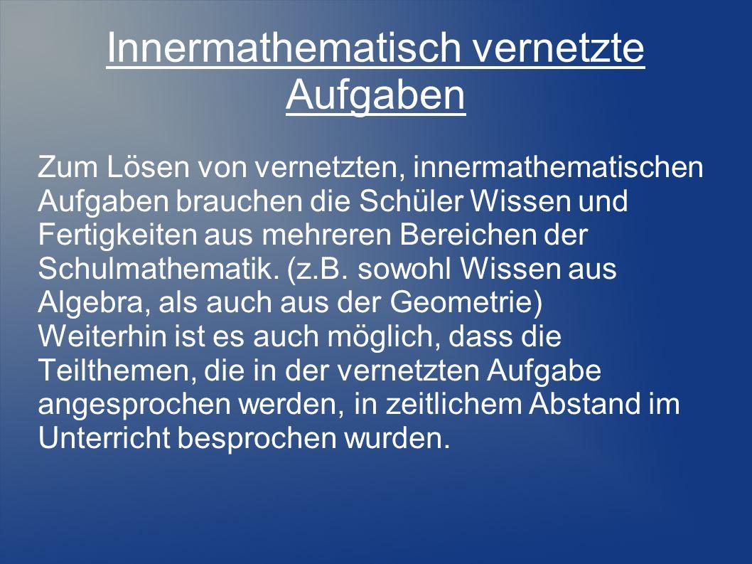 Innermathematisch vernetzte Aufgaben Beispiel: Gib Gleichungen von Funktionen aus möglichst vielen verschiedenen Funktionsklassen an, deren Graphen......