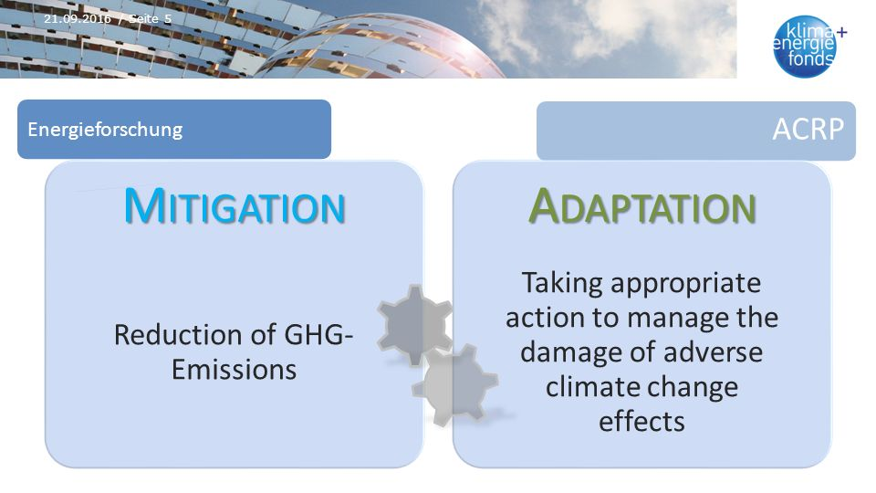 ACRP Energieforschung M ITIGATION Reduction of GHG- Emissions A DAPTATION Taking appropriate action to manage the damage of adverse climate change effects 21.09.2016 / Seite 5