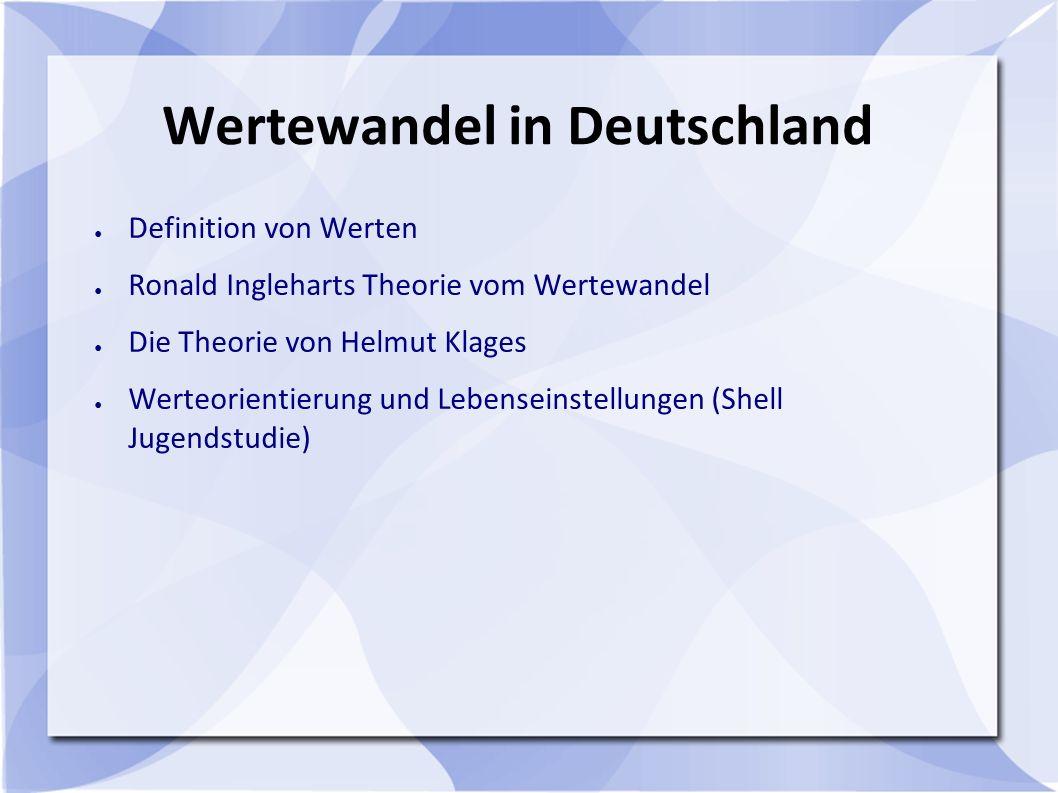 Wertewandel in Deutschland ● Definition von Werten ● Ronald Ingleharts Theorie vom Wertewandel ● Die Theorie von Helmut Klages ● Werteorientierung und Lebenseinstellungen (Shell Jugendstudie)