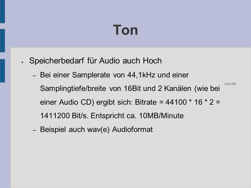 ● Speicherbedarf für Audio auch Hoch – Bei einer Samplerate von 44,1kHz und einer Samplingtiefe/breite von 16Bit und 2 Kanälen (wie bei einer Audio CD