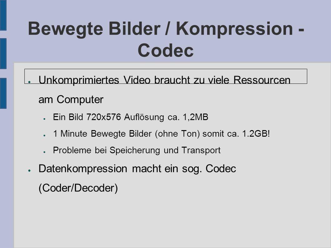 Bewegte Bilder / Kompression - Codec ● Unkomprimiertes Video braucht zu viele Ressourcen am Computer ● Ein Bild 720x576 Auflösung ca. 1,2MB ● 1 Minute