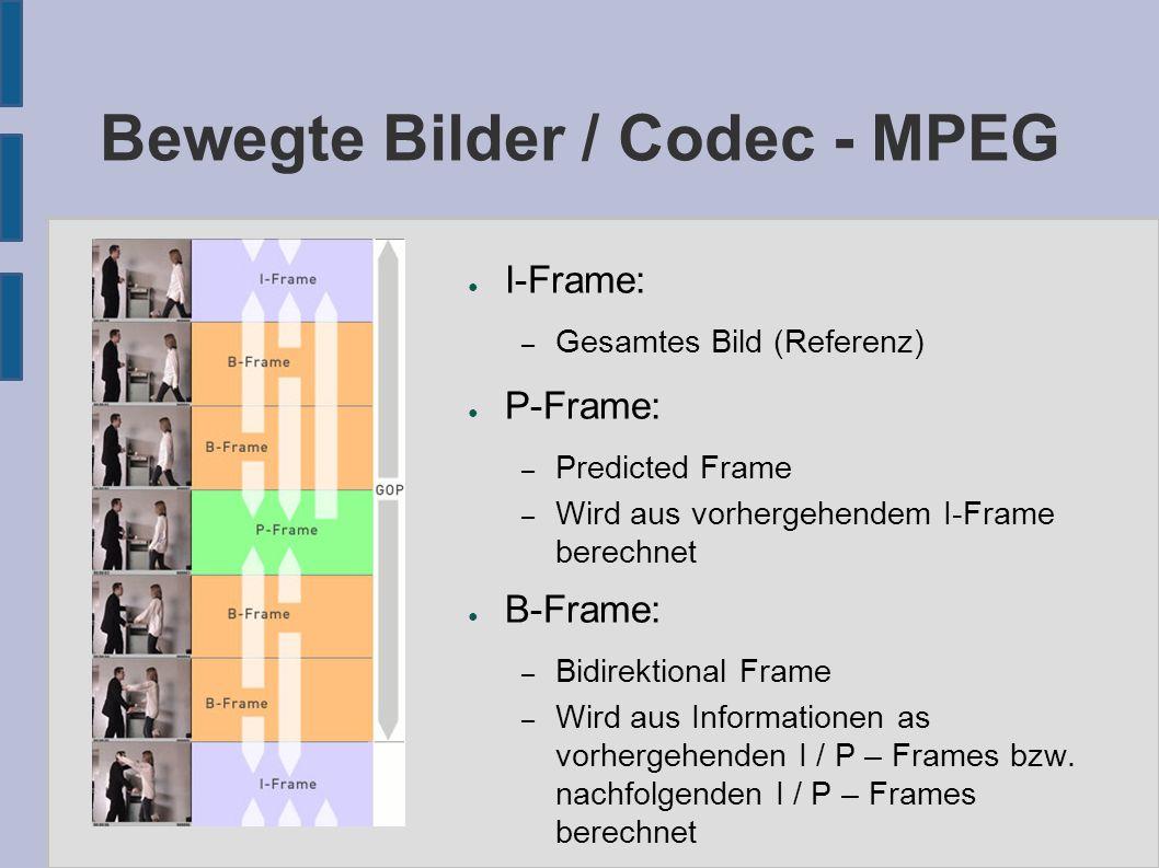 Bewegte Bilder / Codec - MPEG ● I-Frame: – Gesamtes Bild (Referenz) ● P-Frame: – Predicted Frame – Wird aus vorhergehendem I-Frame berechnet ● B-Frame