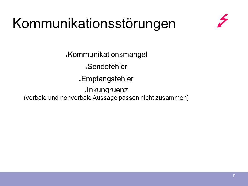 7 Kommunikationsstörungen ● Kommunikationsmangel ● Sendefehler ● Kommunikationsmangel ● Empfangsfehler ● Inkungruenz (verbale und nonverbale Aussage passen nicht zusammen)
