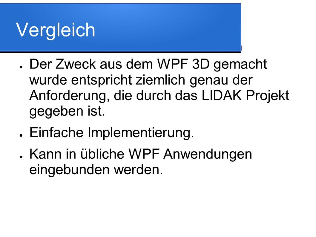 Vergleich ● Der Zweck aus dem WPF 3D gemacht wurde entspricht ziemlich genau der Anforderung, die durch das LIDAK Projekt gegeben ist.
