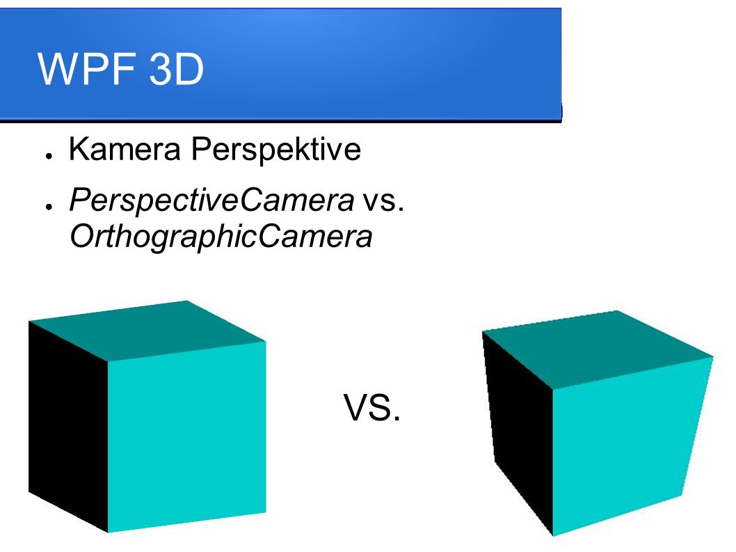 WPF 3D ● Kamera Perspektive ● PerspectiveCamera vs. OrthographicCamera VS.