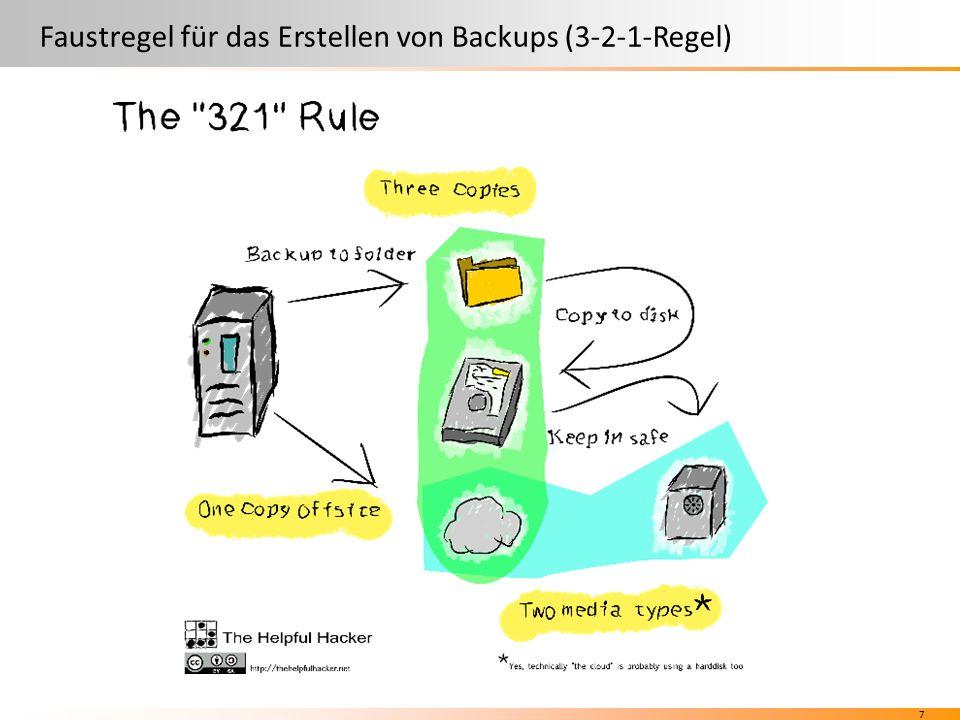 7 Faustregel für das Erstellen von Backups (3-2-1-Regel)