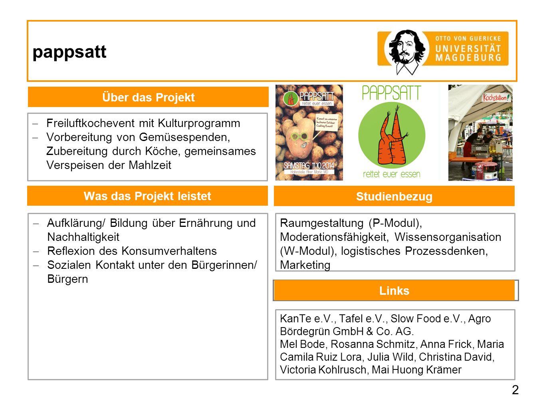 pappsatt Links 2 Was das Projekt leistet Über das Projekt  Freiluftkochevent mit Kulturprogramm  Vorbereitung von Gemüsespenden, Zubereitung durch K