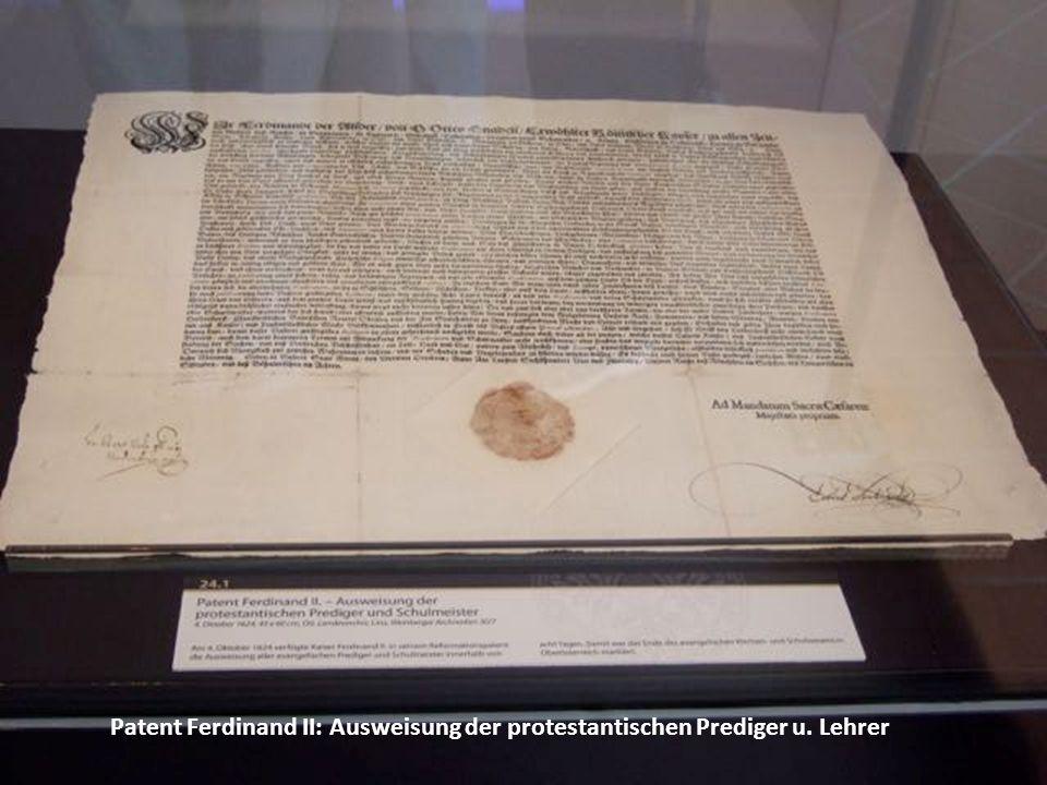 Patent Ferdinand II: Ausweisung der protestantischen Prediger u. Lehrer