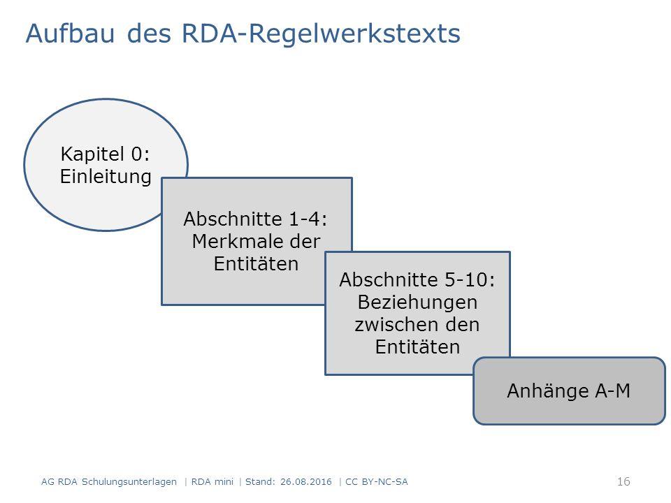 Aufbau des RDA-Regelwerkstexts Kapitel 0: Einleitung Abschnitte 1-4: Merkmale der Entitäten Abschnitte 5-10: Beziehungen zwischen den Entitäten Anhänge A-M 16 AG RDA Schulungsunterlagen | RDA mini | Stand: 26.08.2016 | CC BY-NC-SA