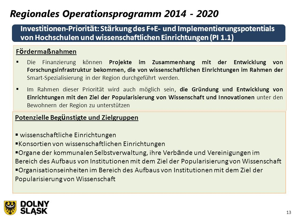 13 Regionales Operationsprogramm 2014 - 2020 Investitionen-Priorit ä t: St ä rkung des F+E- und Implementierungspotentials von Hochschulen und wissens