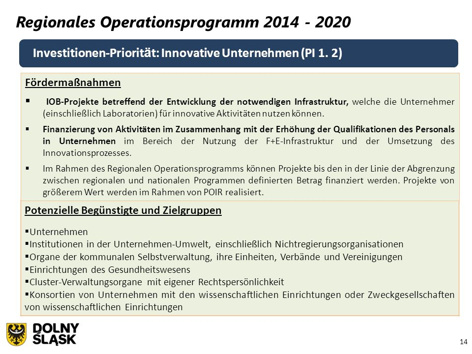 14 Regionales Operationsprogramm 2014 - 2020 Investitionen-Priorit ä t: Innovative Unternehmen (PI 1.