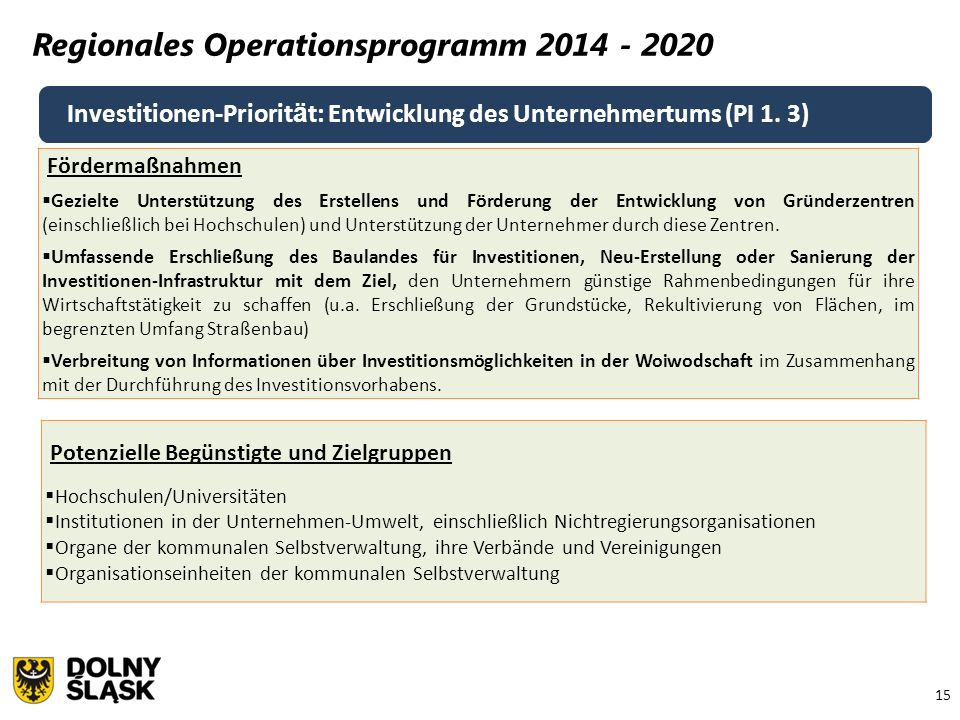 15 Regionales Operationsprogramm 2014 - 2020 Investitionen-Priorit ä t: Entwicklung des Unternehmertums (PI 1. 3) Fördermaßnahmen  Gezielte Unterstüt