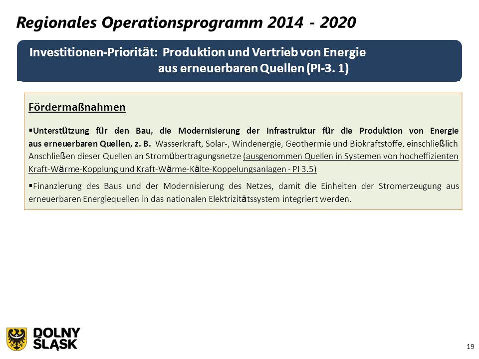 19 Regionales Operationsprogramm 2014 - 2020 Investitionen-Priorit ä t: Produktion und Vertrieb von Energie aus erneuerbaren Quellen (PI-3.