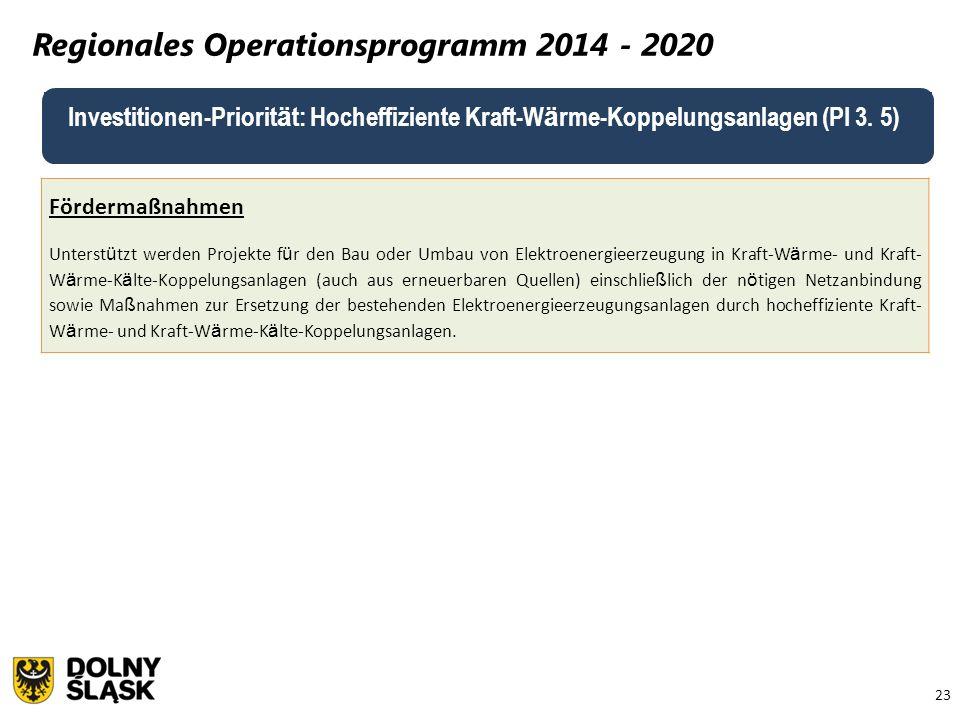 23 Regionales Operationsprogramm 2014 - 2020 Fördermaßnahmen Unterst ü tzt werden Projekte f ü r den Bau oder Umbau von Elektroenergieerzeugung in Kra