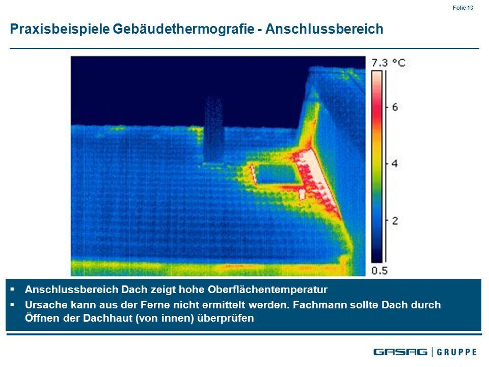 Folie 13  Anschlussbereich Dach zeigt hohe Oberflächentemperatur  Ursache kann aus der Ferne nicht ermittelt werden.
