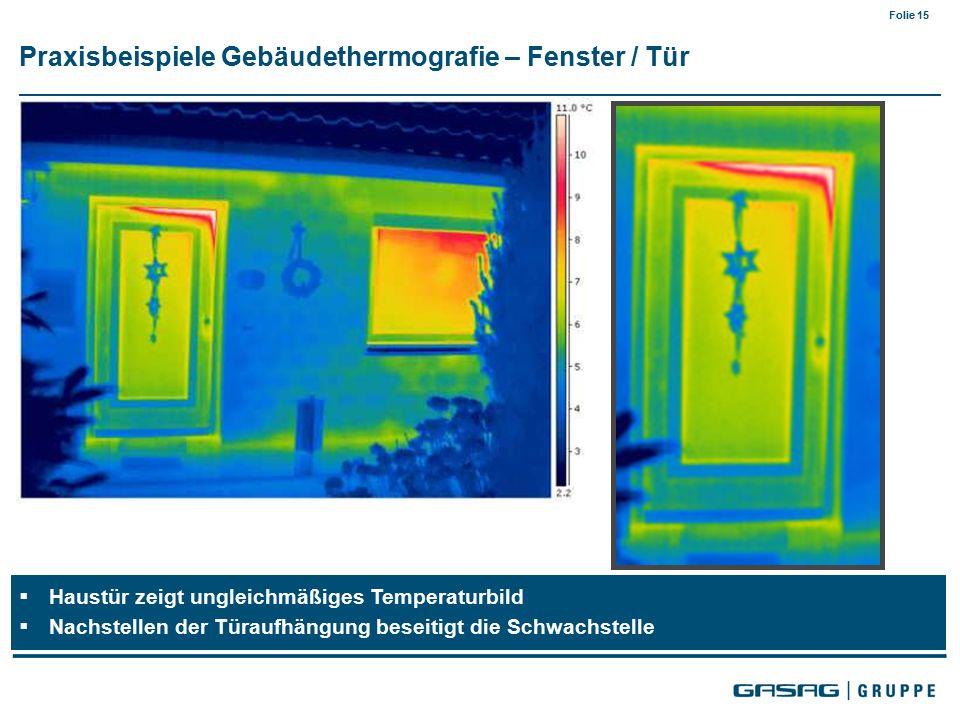 Folie 15  Haustür zeigt ungleichmäßiges Temperaturbild  Nachstellen der Türaufhängung beseitigt die Schwachstelle Praxisbeispiele Gebäudethermografie – Fenster / Tür