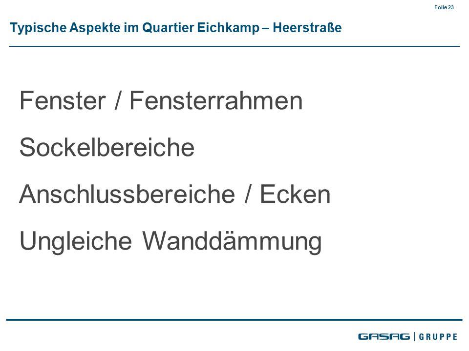 Folie 23 Typische Aspekte im Quartier Eichkamp – Heerstraße Fenster / Fensterrahmen Sockelbereiche Anschlussbereiche / Ecken Ungleiche Wanddämmung
