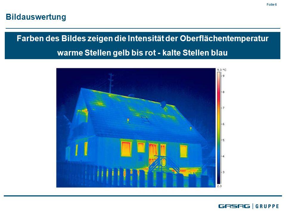 Folie 6 Bildauswertung Farben des Bildes zeigen die Intensität der Oberflächentemperatur warme Stellen gelb bis rot - kalte Stellen blau