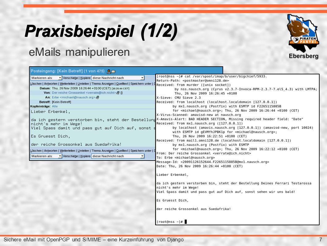 18 Sichere eMail mit OpenPGP und S/MIME – eine Kurzeinführung von Django OpenPGP in der Praxis (1/3) ● Im ersten Schritt erstellt man bei der Schlüsselgenerierung den: privat und den public key anschließend wird das Rückrufzertifikat erstellt und der öffentliche Schlüssel exportiert.