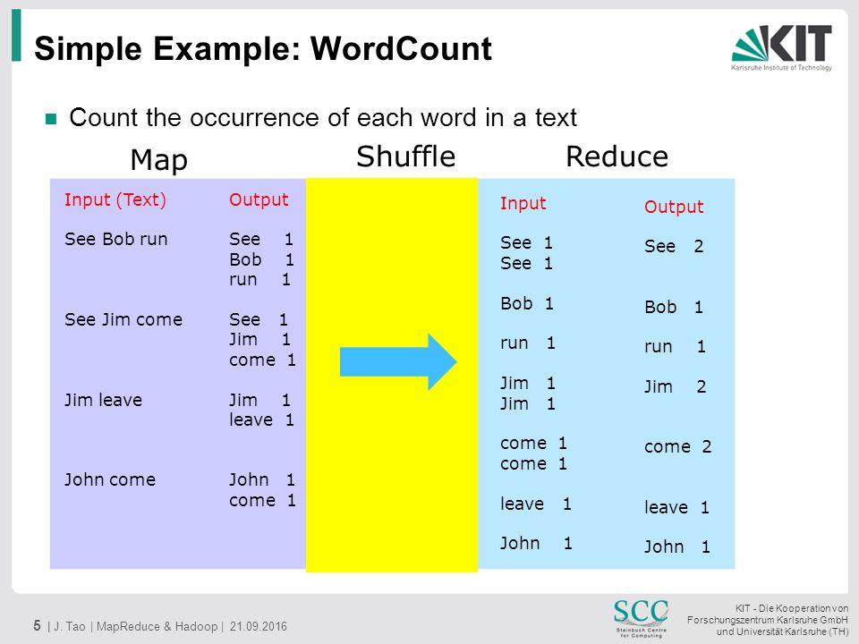 KIT - Die Kooperation von Forschungszentrum Karlsruhe GmbH und Universität Karlsruhe (TH) Simple Example: WordCount 5 | J.