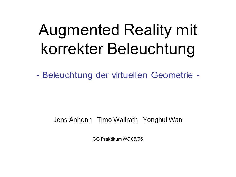 CG Pratikum WS 05/06Augmented Realitiy2 Aufgabenstellung Darstellung der Szene inklusive korrekt beleuchteter virtueller Geometrie und Schatten.