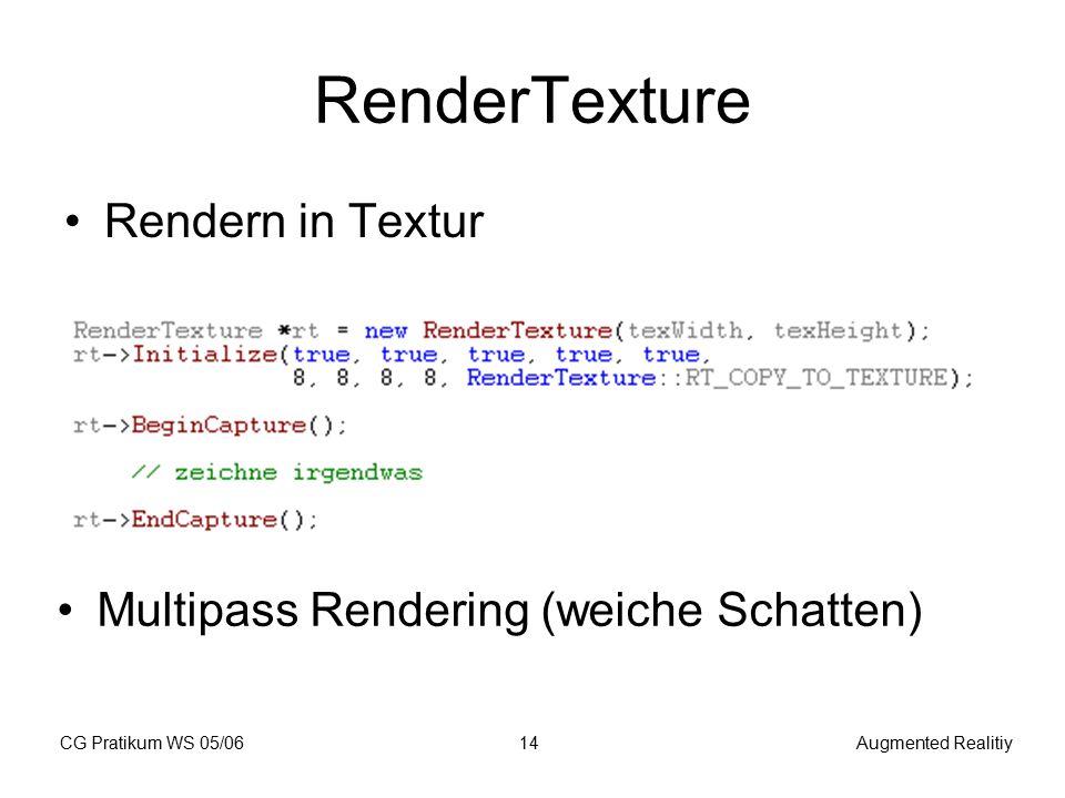 CG Pratikum WS 05/06Augmented Realitiy14 RenderTexture Rendern in Textur Multipass Rendering (weiche Schatten)