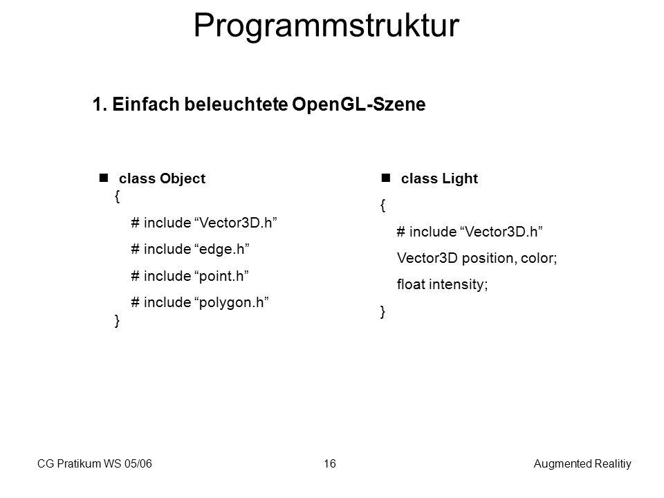 """CG Pratikum WS 05/06Augmented Realitiy16 Programmstruktur 1. Einfach beleuchtete OpenGL-Szene class Object { # include """"Vector3D.h"""" # include """"edge.h"""""""