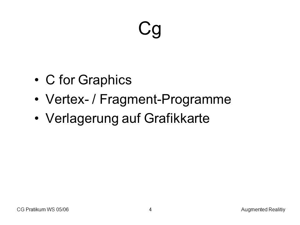 CG Pratikum WS 05/06Augmented Realitiy15 Schnittstellen Eingabe: - Lichtquellen (Position, Intensität) - Geometrie Ausgabe: - gerenderte Szene